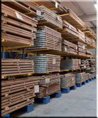Burma Teak. Schnittholz-Lagerung.